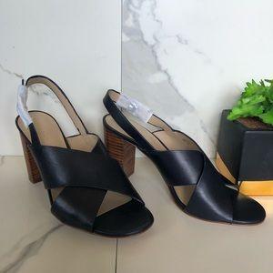 Ann Taylor Black Leather Heeled Sandals